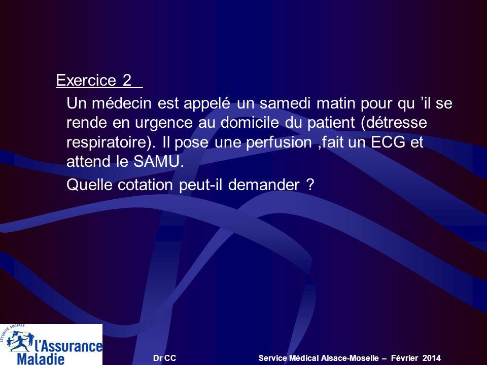 Dr CC Service Médical Alsace-Moselle – Février 2014 Exercice 2 Un médecin est appelé un samedi matin pour qu il se rende en urgence au domicile du pat