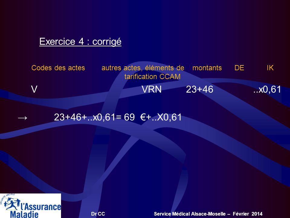 Dr CC Service Médical Alsace-Moselle – Février 2014 Exercice 4 : corrigé Codes des actes autres actes, éléments de montants DE IK tarification CCAM V