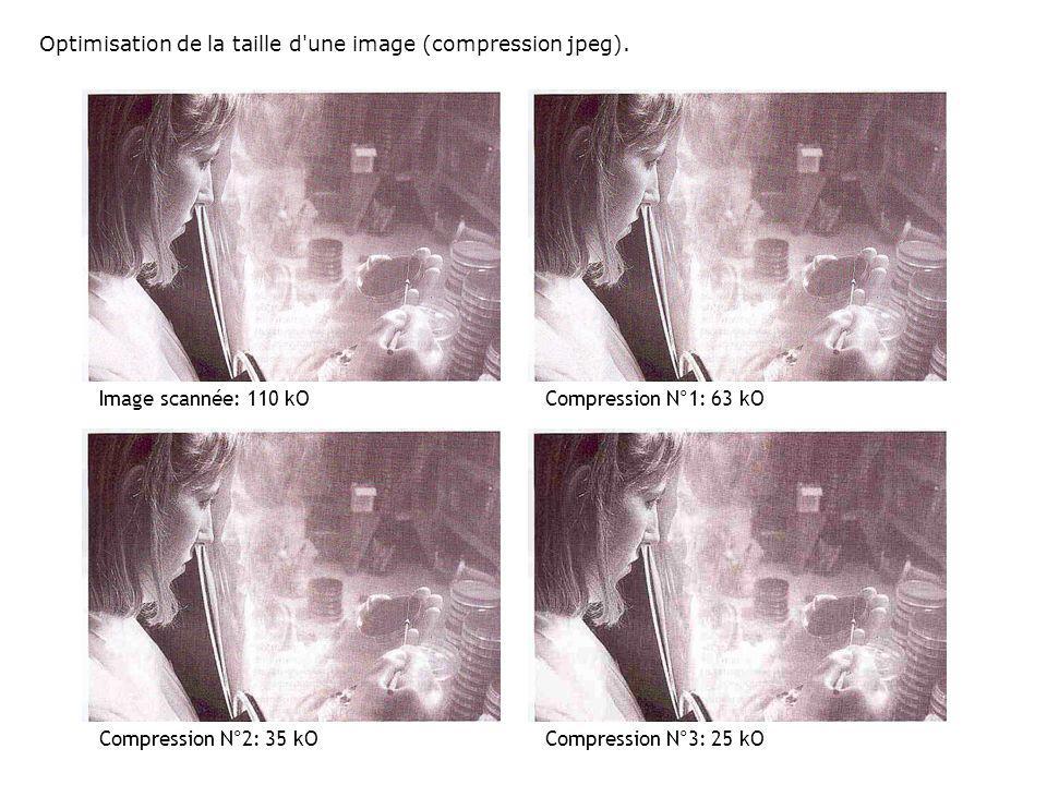 Optimisation de la taille d'une image (compression jpeg). Image scannée: 110 kOCompression N°1: 63 kO Compression N°3: 25 kOCompression N°2: 35 kO