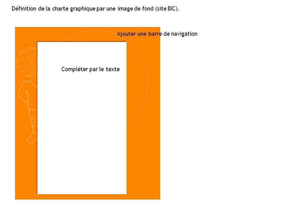 Définition de la charte graphique par une image de fond (site BIC). Ajouter une barre de navigation Compléter par le texte