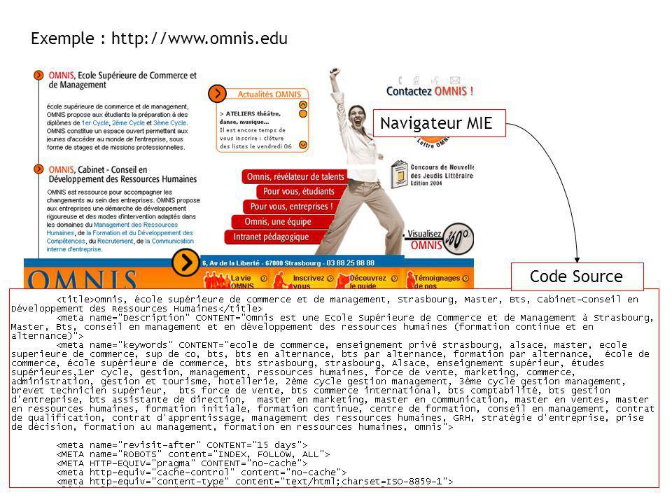 Exemple : http://www.omnis.edu Navigateur MIE Code Source
