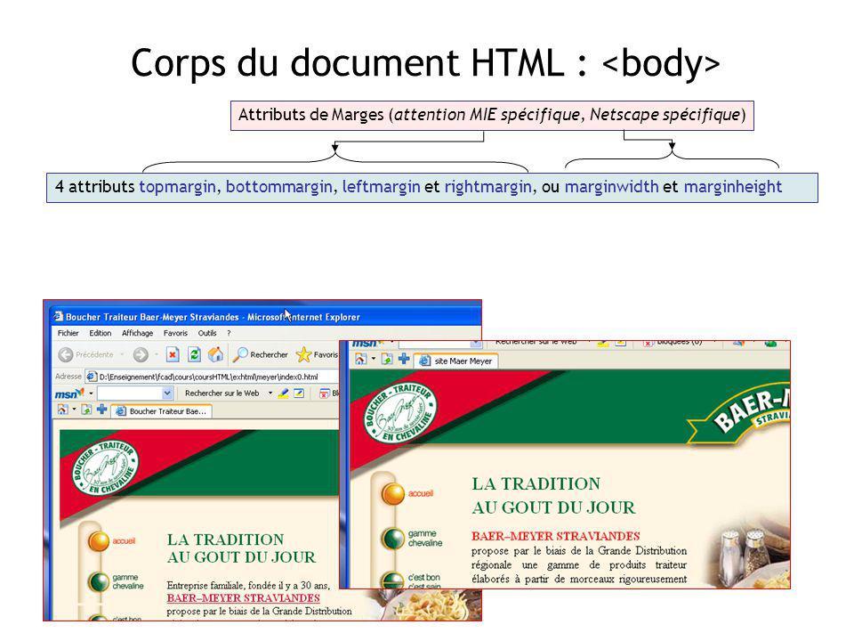 Corps du document HTML : Attributs de Marges (attention MIE spécifique, Netscape spécifique) 4 attributs topmargin, bottommargin, leftmargin et rightm
