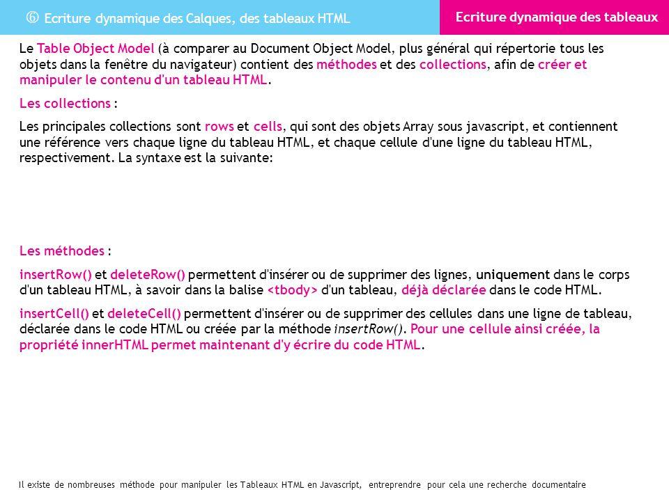 Ecriture dynamique des Calques, des tableaux HTML Ecriture dynamique des tableaux Le Table Object Model (à comparer au Document Object Model, plus gén