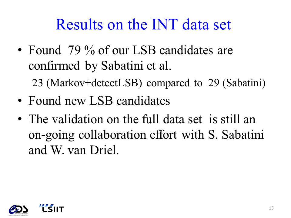 Results on the INT data set Found 79 % of our LSB candidates are confirmed by Sabatini et al.