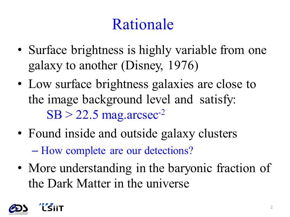 Introduction: Définition dune galaxie LSB 2/4 Objet très difficile à détecter car leur luminosité les place dans la zone dincertitude liée au bruit; Les méthodes de segmentation par seuillages successifs (méthode des 3σ) échouent car elles éliminent la LSB en même temps que le fond.