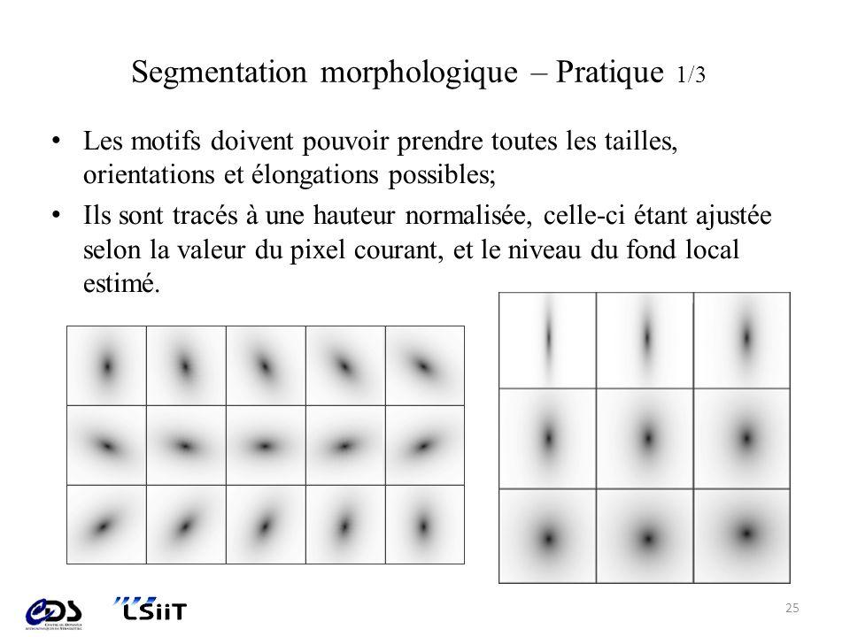 Segmentation morphologique – Pratique 1/3 Les motifs doivent pouvoir prendre toutes les tailles, orientations et élongations possibles; Ils sont tracé