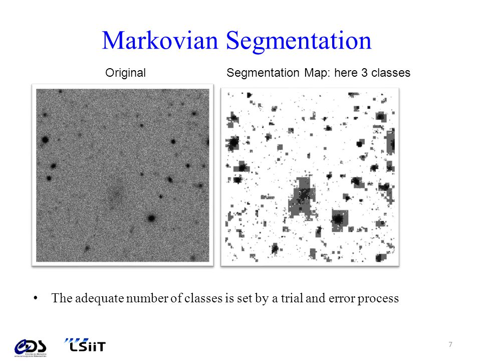 Steps achieved with DetectLSB For each detection map: – Identify pixel connected components – Remove very extended components : > 300 pixels – Remove components at the edges of the image Ellipse fitting Luminosity profile analysis Selection criteria: – Sort out stars according to their profile (steep slope, etc.) – Remove bad centered and/or overlaping objects (crowded regions) – Check for central surface brightness 8