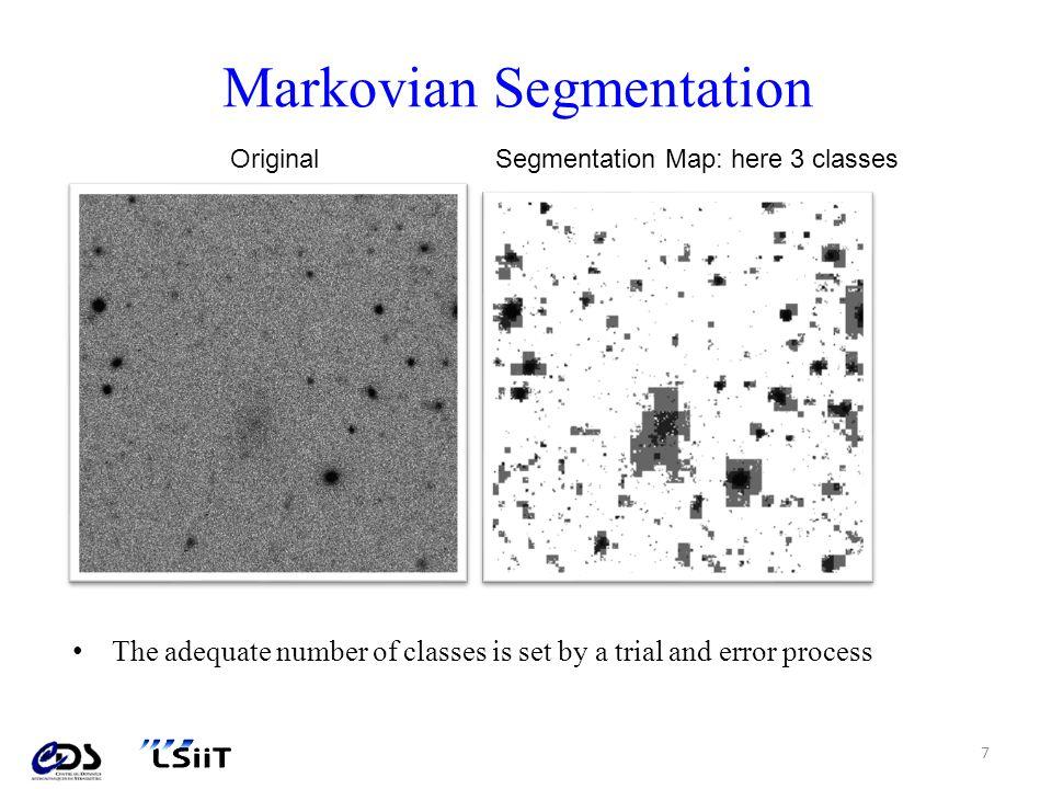 Segmentation morphologique – Pratique 2/3 Le score retenu en chaque point est celui du motif qui a fourni le meilleur appariement; Leffet bloc est dû à lestimation locale du niveau de fond qui est réalisée sur un sous maillage de limage.