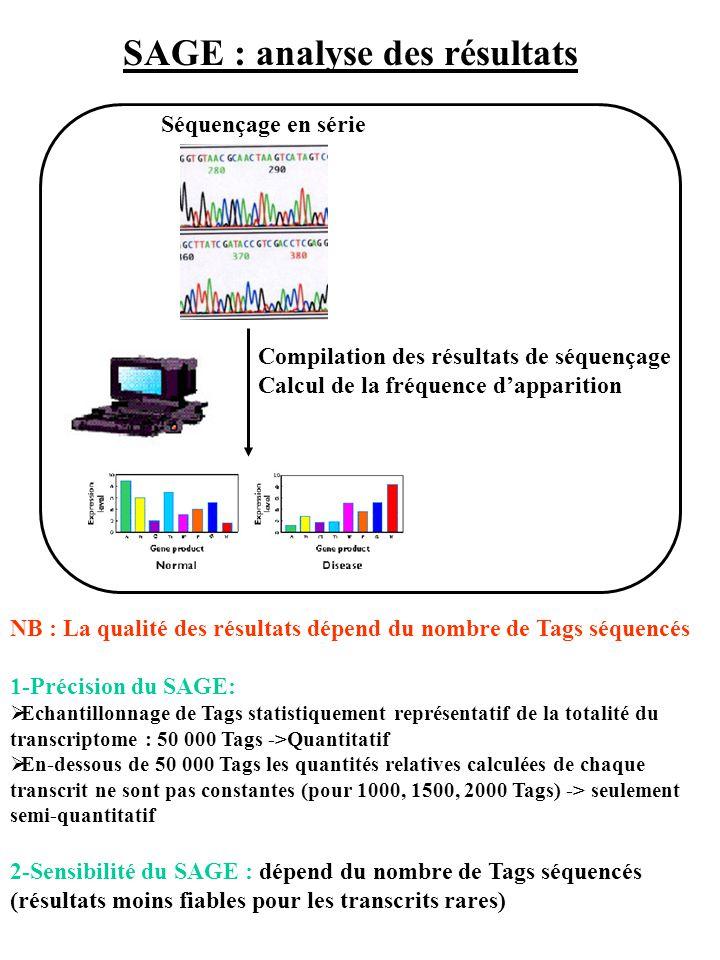SAGE : analyse des résultats NB : La qualité des résultats dépend du nombre de Tags séquencés 1-Précision du SAGE: Echantillonnage de Tags statistique