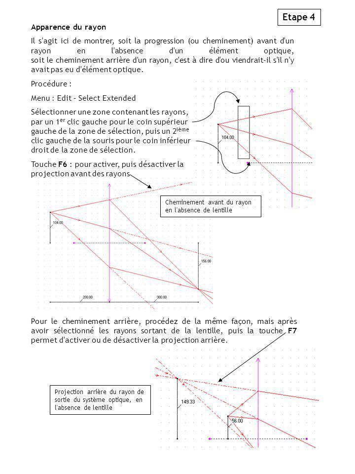 Etape 4 Apparence du rayon Il s agit ici de montrer, soit la progression (ou cheminement) avant d un rayon en l absence d un élément optique, soit le cheminement arrière d un rayon, c est à dire d ou viendrait-il s il n y avait pas eu d élément optique.