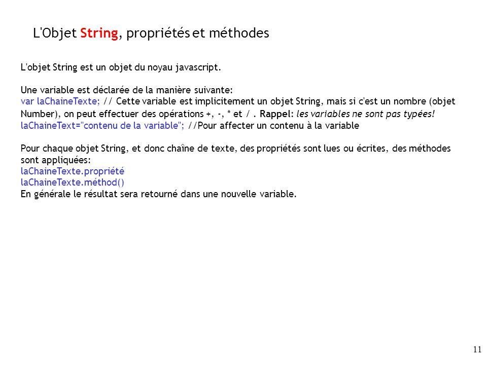 11 L Objet String, propriétés et méthodes L objet String est un objet du noyau javascript.