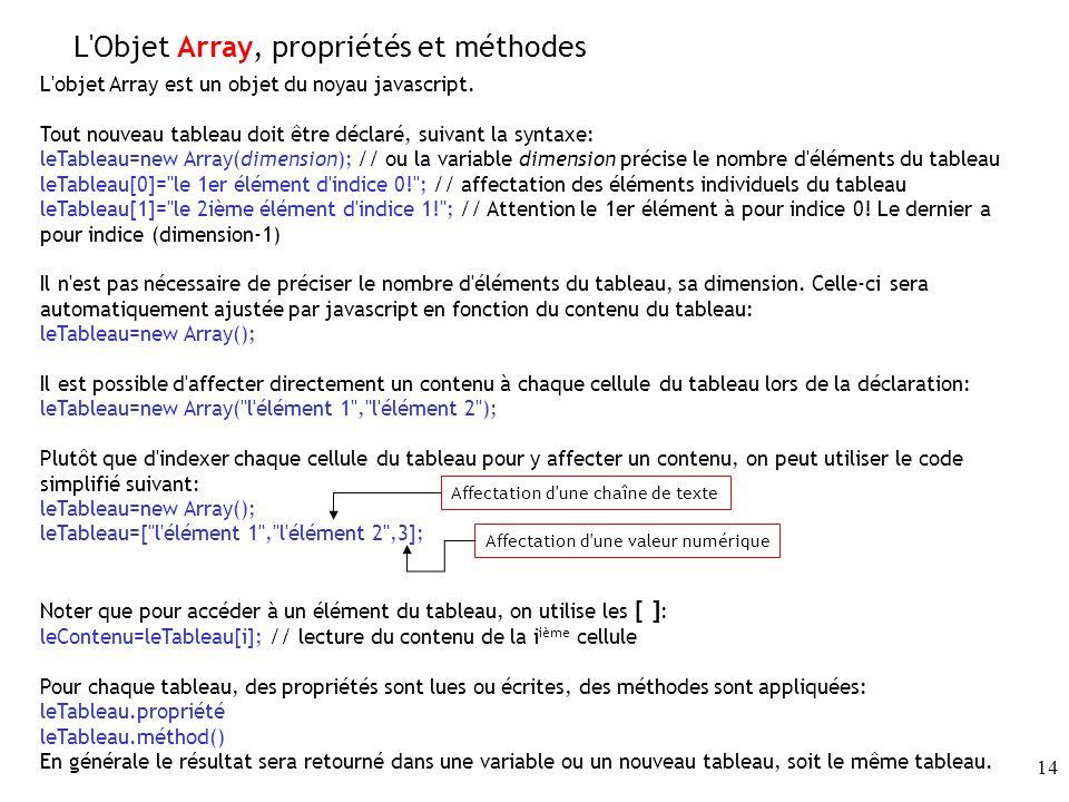 14 L Objet Array, propriétés et méthodes L objet Array est un objet du noyau javascript.