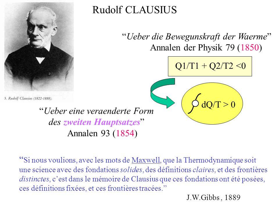 Ueber die Bewegunskraft der Waerme Annalen der Physik 79 (1850) Rudolf CLAUSIUS Q1/T1 + Q2/T2 <0 Ueber eine veraenderte Form des zweiten Hauptsatzes A