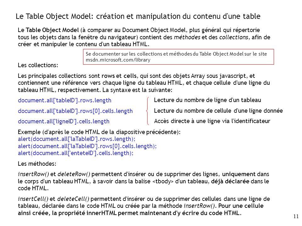 11 Le Table Object Model: création et manipulation du contenu d une table Le Table Object Model (à comparer au Document Object Model, plus général qui répertorie tous les objets dans la fenêtre du navigateur) contient des méthodes et des collections, afin de créer et manipuler le contenu d un tableau HTML.
