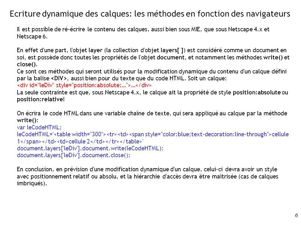 6 Ecriture dynamique des calques: les méthodes en fonction des navigateurs Il est possible de ré-écrire le contenu des calques, aussi bien sous MIE, q