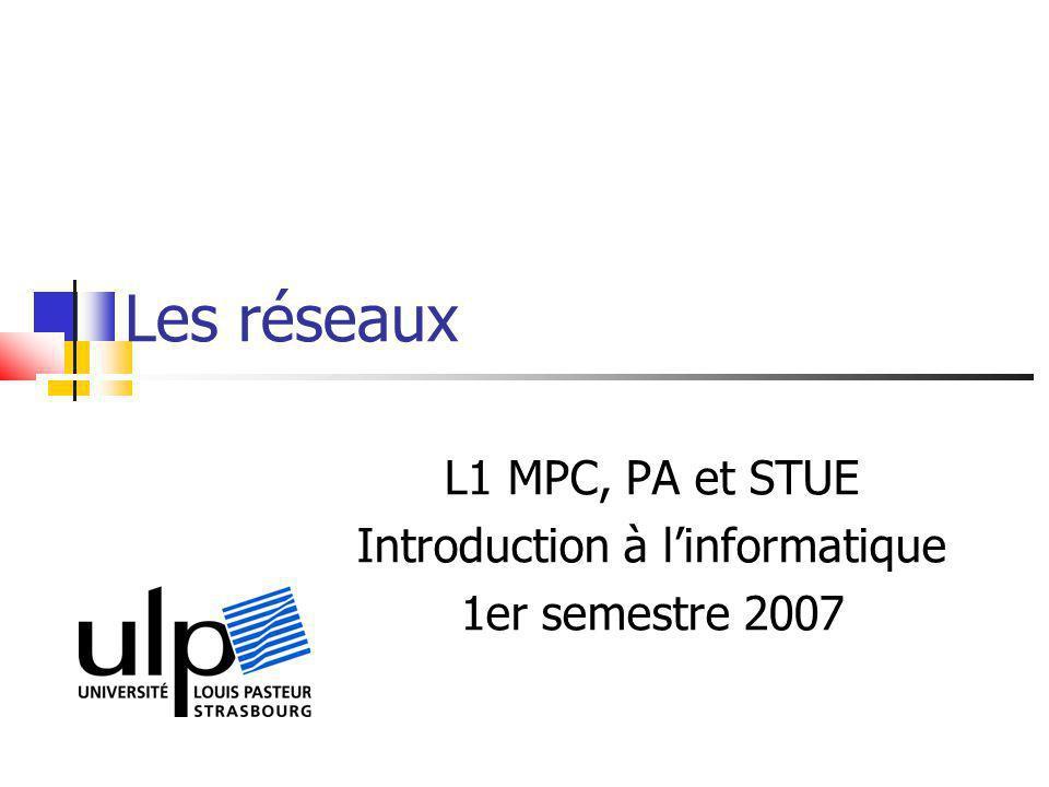 Les réseaux L1 MPC, PA et STUE Introduction à linformatique 1er semestre 2007