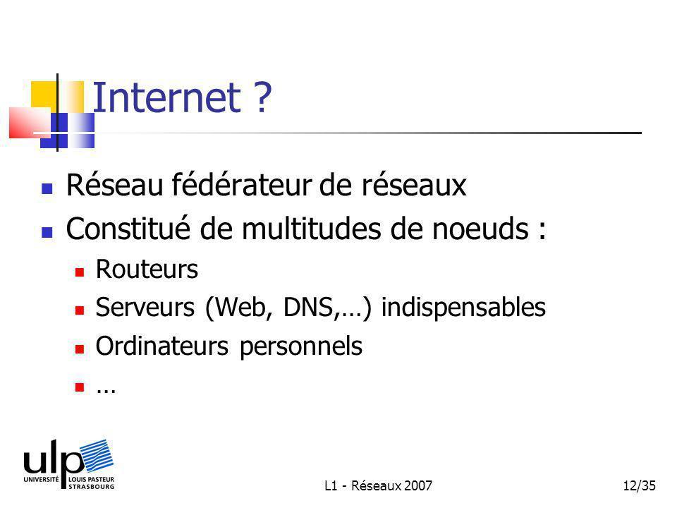 L1 - Réseaux 200712/35 Internet .