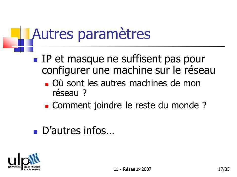 L1 - Réseaux 200717/35 Autres paramètres IP et masque ne suffisent pas pour configurer une machine sur le réseau Où sont les autres machines de mon réseau .