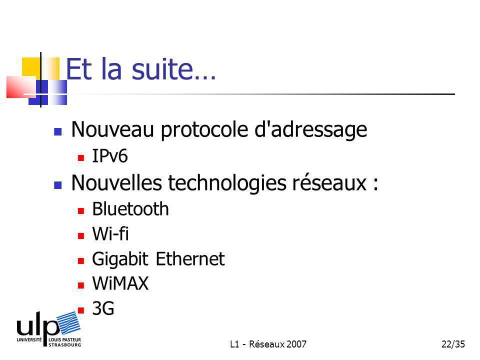 L1 - Réseaux 200722/35 Et la suite… Nouveau protocole d adressage IPv6 Nouvelles technologies réseaux : Bluetooth Wi-fi Gigabit Ethernet WiMAX 3G