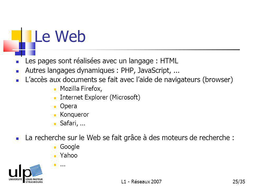 L1 - Réseaux 200725/35 Le Web Les pages sont réalisées avec un langage : HTML Autres langages dynamiques : PHP, JavaScript,...