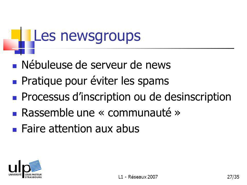 L1 - Réseaux 200727/35 Les newsgroups Nébuleuse de serveur de news Pratique pour éviter les spams Processus dinscription ou de desinscription Rassemble une « communauté » Faire attention aux abus