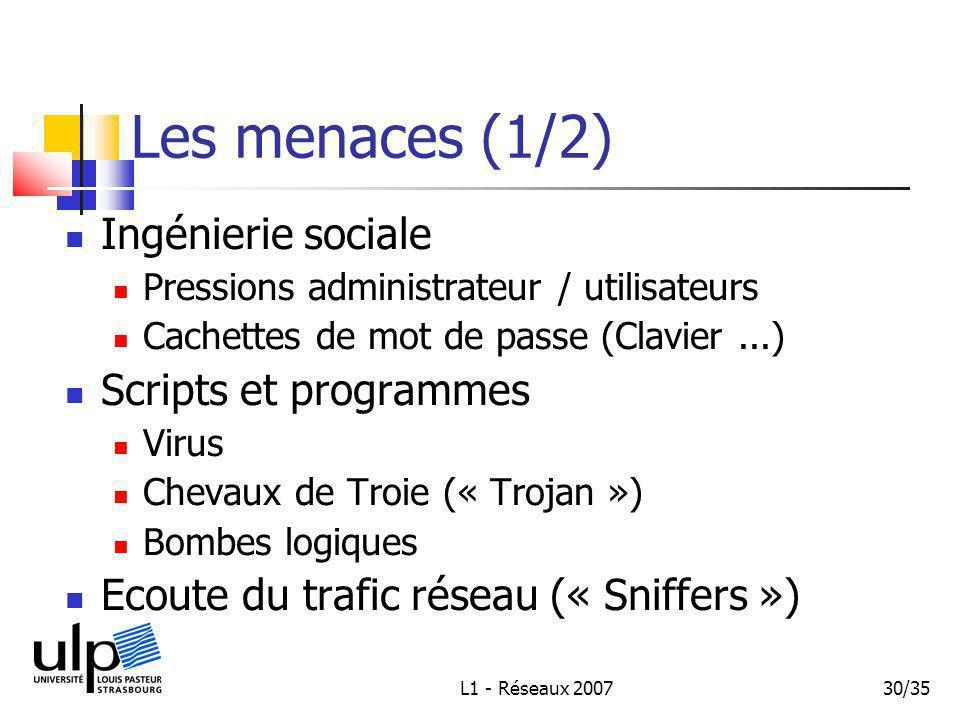 L1 - Réseaux 200730/35 Les menaces (1/2) Ingénierie sociale Pressions administrateur / utilisateurs Cachettes de mot de passe (Clavier...) Scripts et programmes Virus Chevaux de Troie (« Trojan ») Bombes logiques Ecoute du trafic réseau (« Sniffers »)
