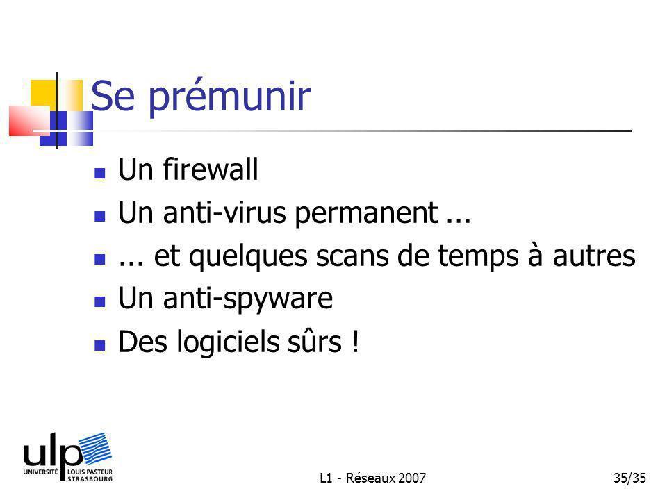 L1 - Réseaux 200735/35 Se prémunir Un firewall Un anti-virus permanent......