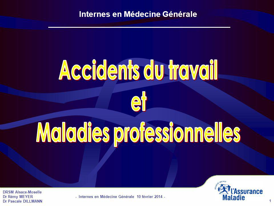 DRSM Alsace-Moselle Dr Rémy MEYER - Internes en Médecine Générale 10 février 2014 - Dr Pascale DILLMANN 2 Accidents du travail (AT) Plan de l intervention Définition de lAT Accident de trajet Guérison Consolidation Rechute