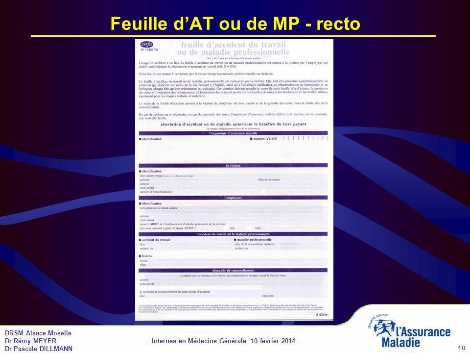 DRSM Alsace-Moselle Dr Rémy MEYER - Internes en Médecine Générale 10 février 2014 - Dr Pascale DILLMANN 10 Feuille dAT ou de MP - recto