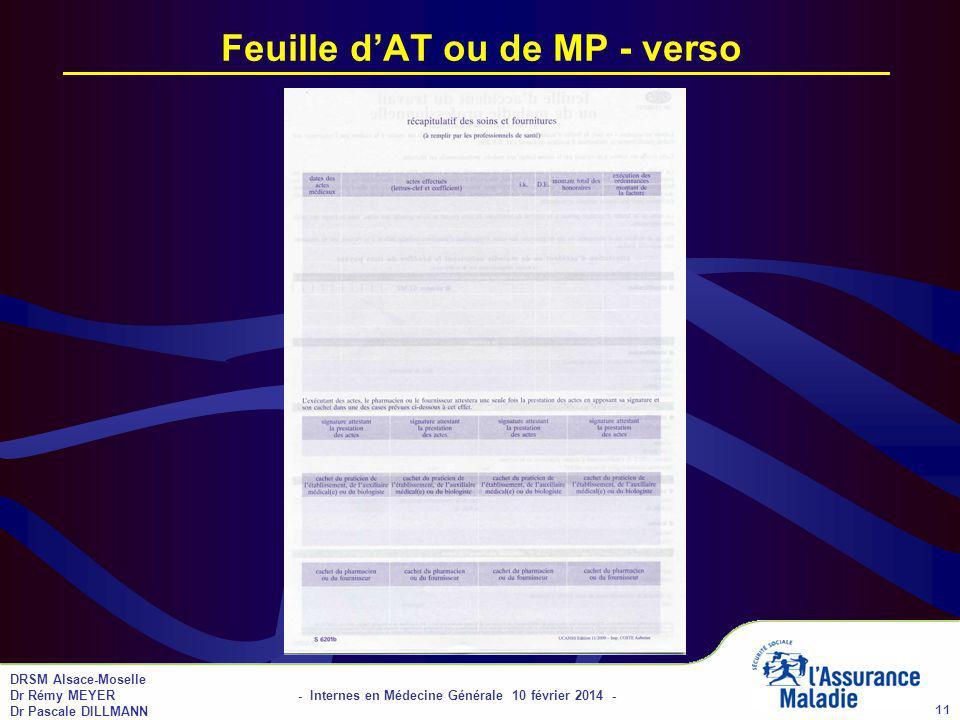 DRSM Alsace-Moselle Dr Rémy MEYER - Internes en Médecine Générale 10 février 2014 - Dr Pascale DILLMANN 11 Feuille dAT ou de MP - verso