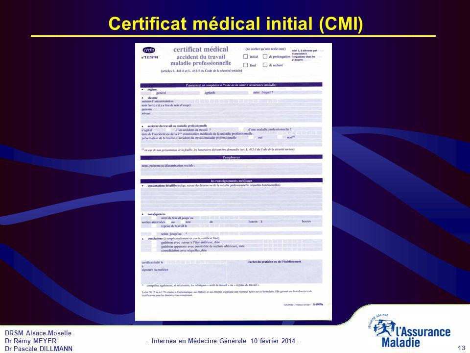 DRSM Alsace-Moselle Dr Rémy MEYER - Internes en Médecine Générale 10 février 2014 - Dr Pascale DILLMANN 13 Certificat médical initial (CMI)