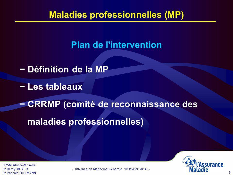 DRSM Alsace-Moselle Dr Rémy MEYER - Internes en Médecine Générale 10 février 2014 - Dr Pascale DILLMANN 3 Maladies professionnelles (MP) Plan de l intervention Définition de la MP Les tableaux CRRMP (comité de reconnaissance des maladies professionnelles)