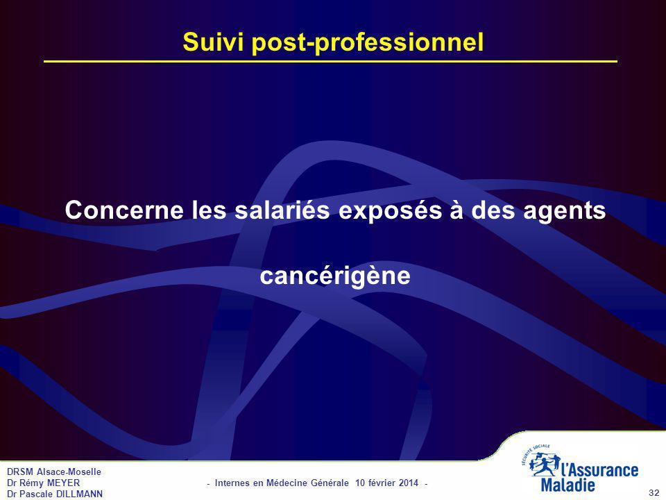 DRSM Alsace-Moselle Dr Rémy MEYER - Internes en Médecine Générale 10 février 2014 - Dr Pascale DILLMANN 32 Suivi post-professionnel Concerne les salariés exposés à des agents cancérigène