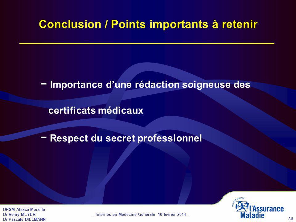 DRSM Alsace-Moselle Dr Rémy MEYER - Internes en Médecine Générale 10 février 2014 - Dr Pascale DILLMANN 36 Conclusion / Points importants à retenir Importance dune rédaction soigneuse des certificats médicaux Respect du secret professionnel