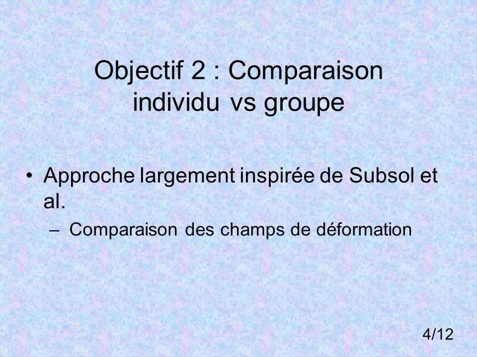 Objectif 2 : Comparaison individu vs groupe Approche largement inspirée de Subsol et al. – Comparaison des champs de déformation 4/12