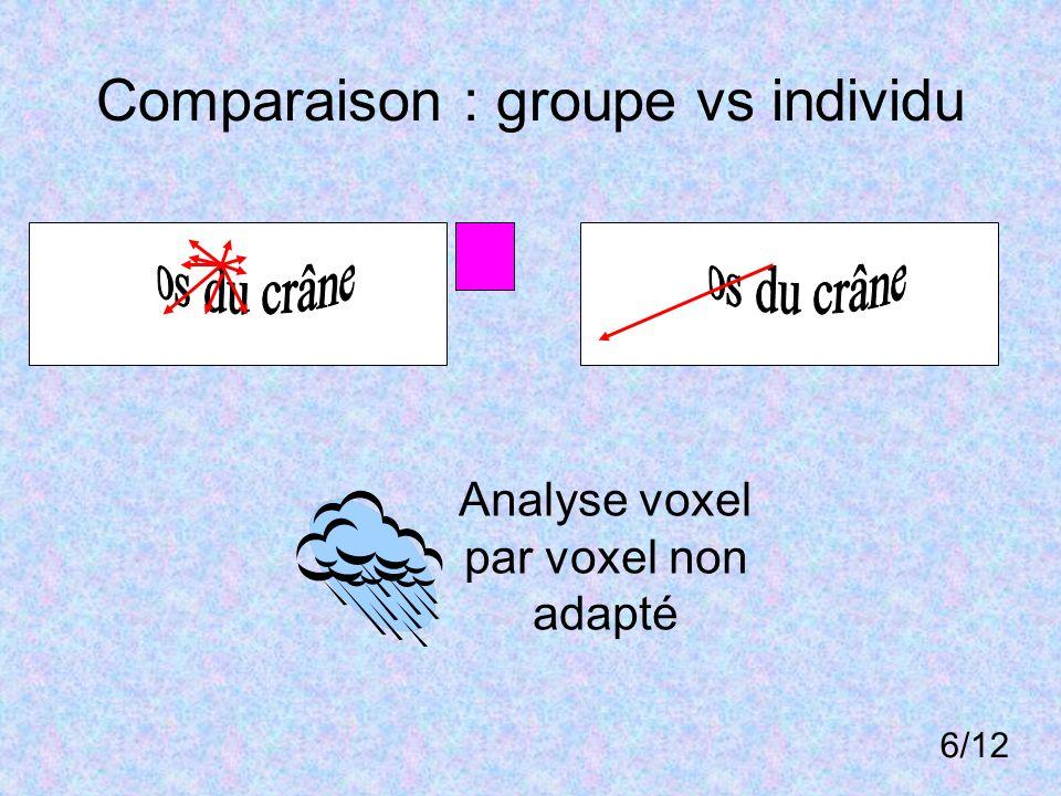 Comparaison : groupe vs individu Analyse voxel par voxel non adapté 6/12