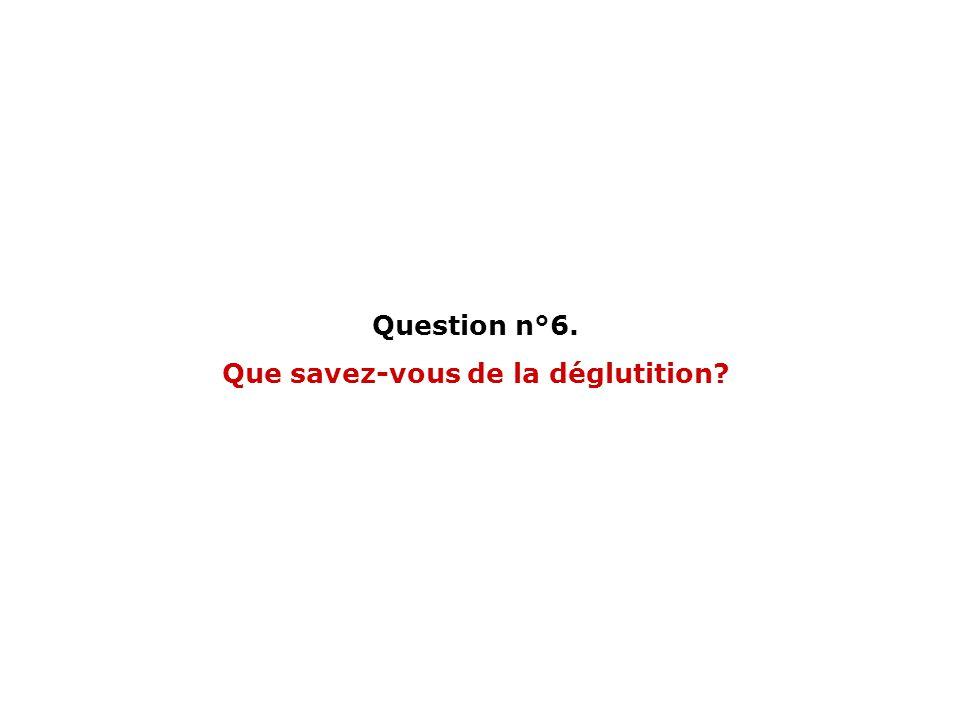 Question n°6. Que savez-vous de la déglutition?