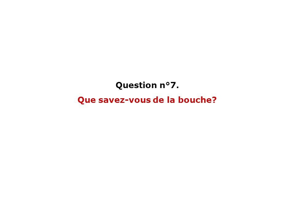 Question n°7. Que savez-vous de la bouche?