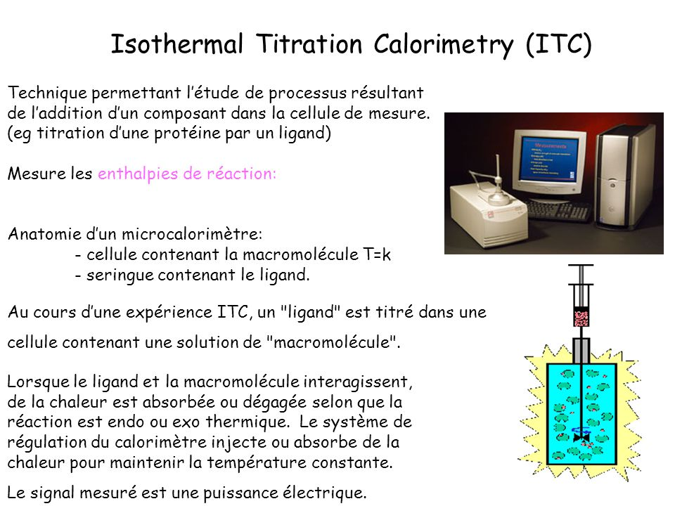 Isothermal Titration Calorimetry (ITC) Technique permettant létude de processus résultant de laddition dun composant dans la cellule de mesure. (eg ti