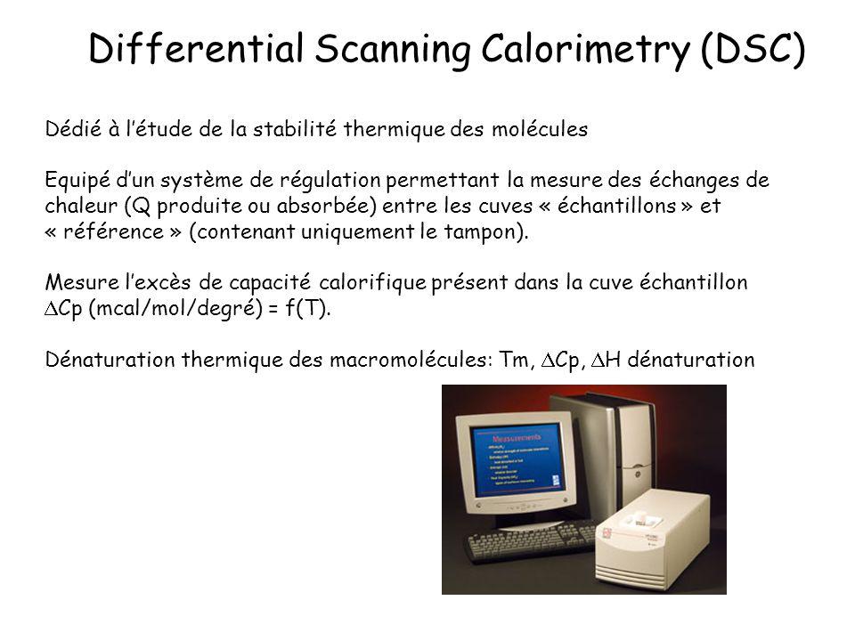 Differential Scanning Calorimetry (DSC) Dédié à létude de la stabilité thermique des molécules Equipé dun système de régulation permettant la mesure d