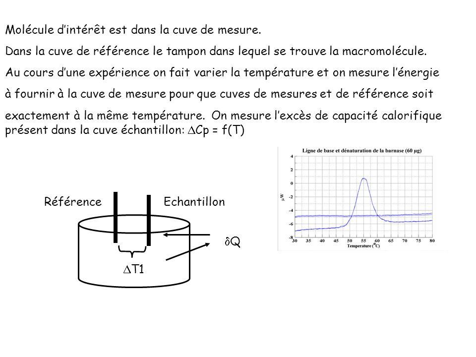 Molécule dintérêt est dans la cuve de mesure. Dans la cuve de référence le tampon dans lequel se trouve la macromolécule. Au cours dune expérience on