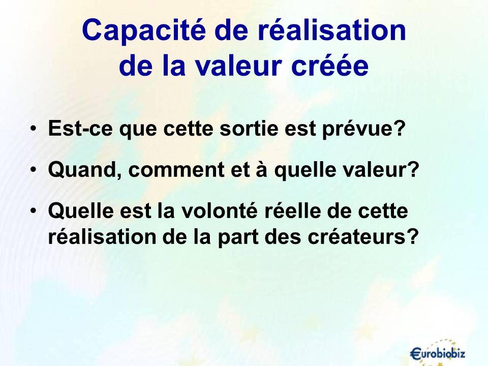Capacité de réalisation de la valeur créée Est-ce que cette sortie est prévue? Quand, comment et à quelle valeur? Quelle est la volonté réelle de cett