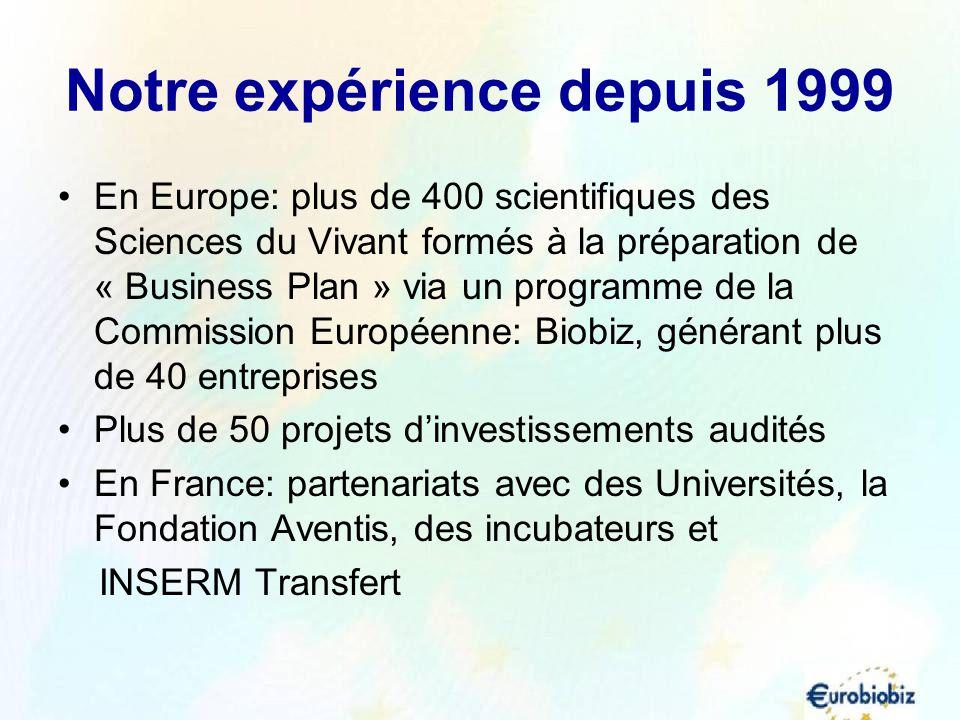 Notre expérience depuis 1999 En Europe: plus de 400 scientifiques des Sciences du Vivant formés à la préparation de « Business Plan » via un programme