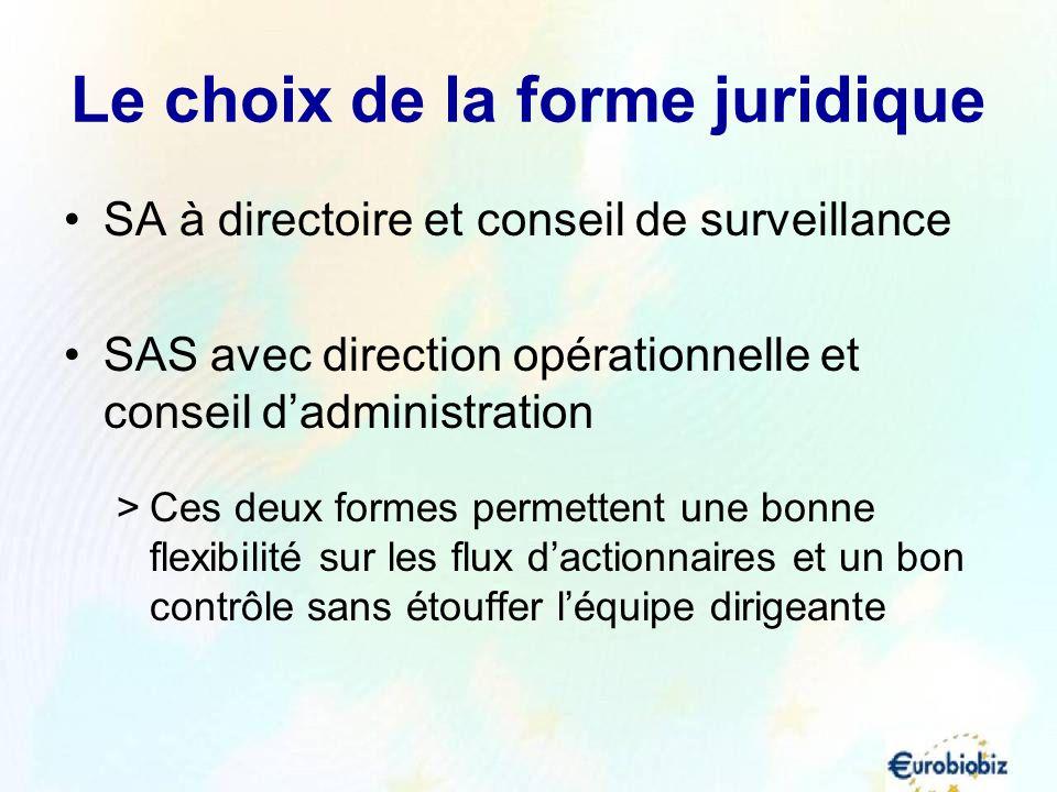 Le choix de la forme juridique SA à directoire et conseil de surveillance SAS avec direction opérationnelle et conseil dadministration >Ces deux forme