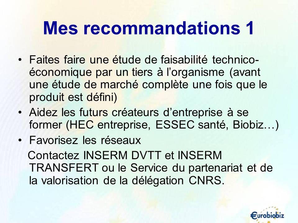Mes recommandations 1 Faites faire une étude de faisabilité technico- économique par un tiers à lorganisme (avant une étude de marché complète une foi