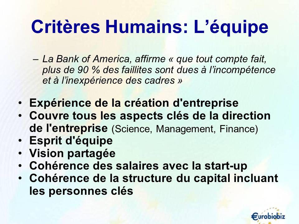 Critères Humains: Léquipe –La Bank of America, affirme « que tout compte fait, plus de 90 % des faillites sont dues à lincompétence et à linexpérience