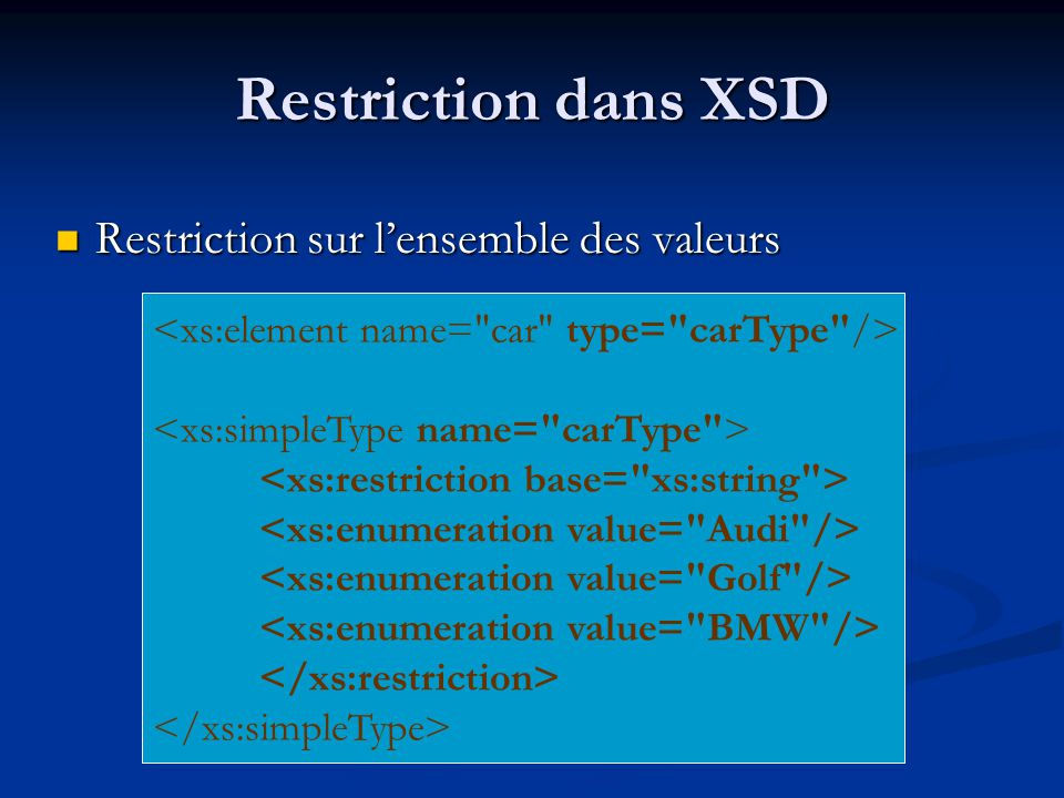 Restriction dans XSD Restriction sur lensemble des valeurs Restriction sur lensemble des valeurs