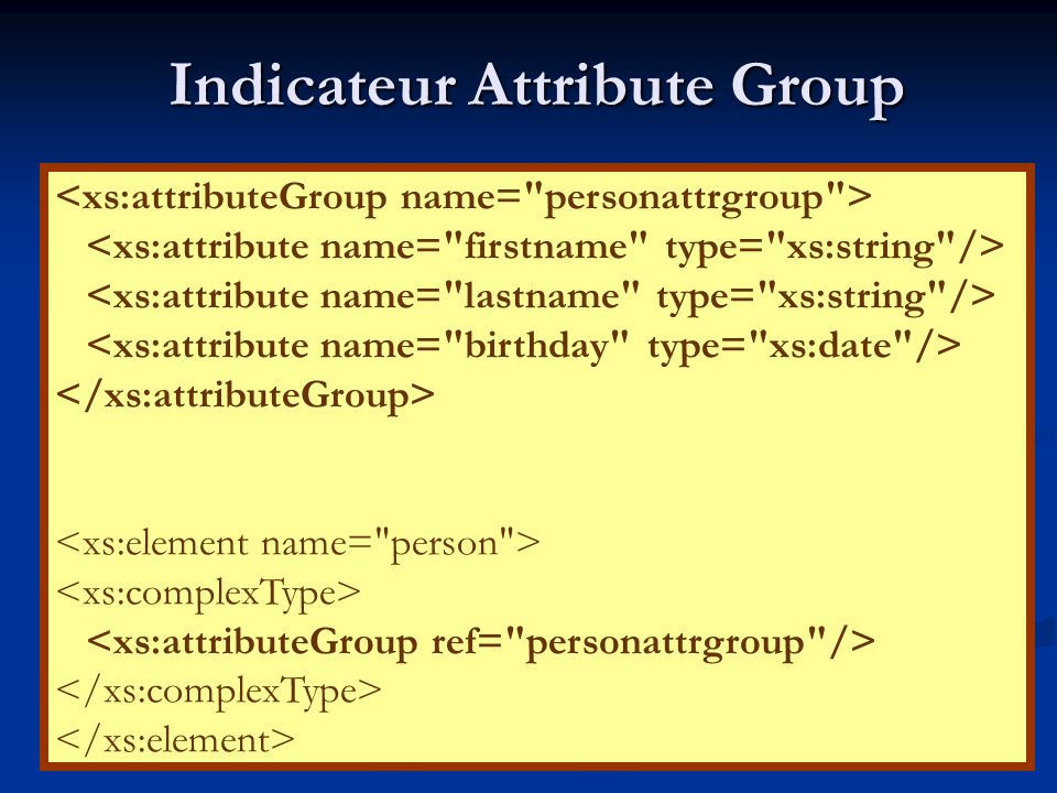 Indicateur Attribute Group