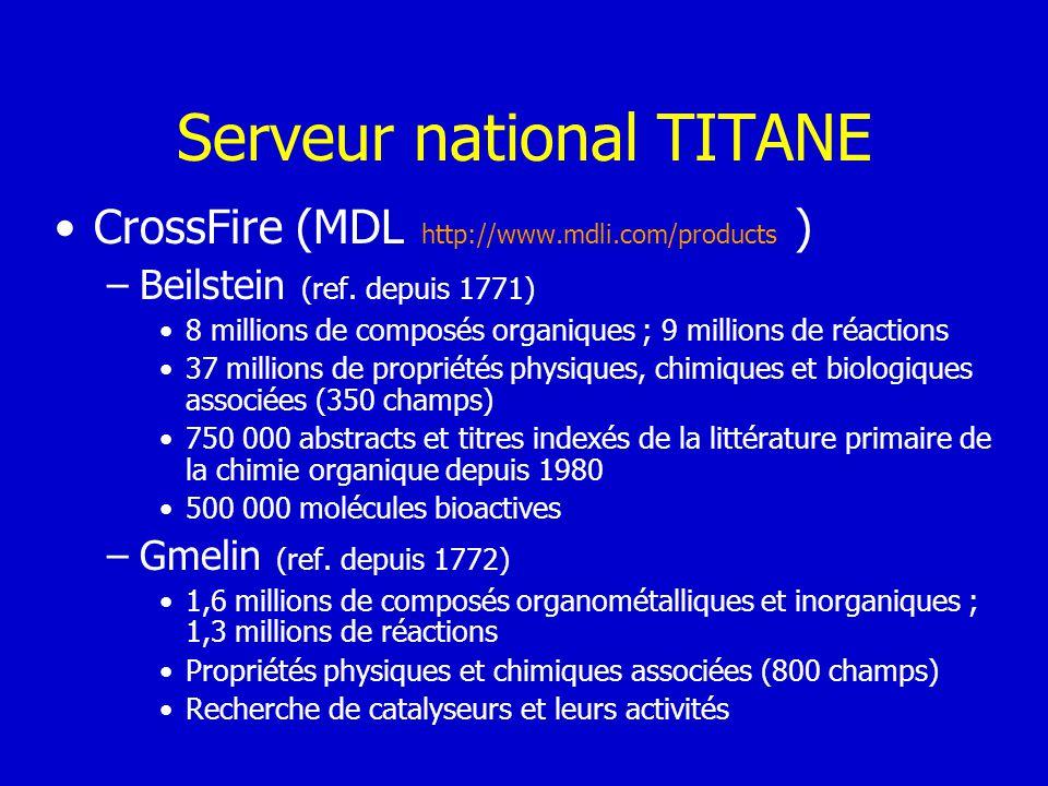 Serveur national TITANE CrossFire (MDL http://www.mdli.com/products ) –Beilstein (ref. depuis 1771) 8 millions de composés organiques ; 9 millions de