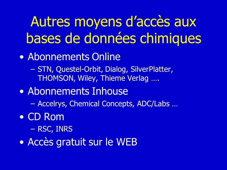 Autres moyens daccès aux bases de données chimiques Abonnements Online –STN, Questel-Orbit, Dialog, SilverPlatter, THOMSON, Wiley, Thieme Verlag …. Ab